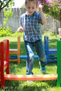Games to play outside - pool noodle obstacle course