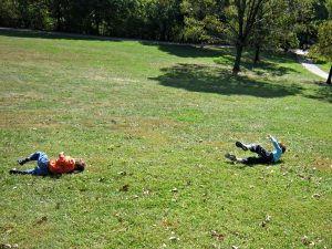Games to play outside - rolling down the hill