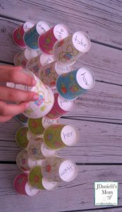 How to teach reading this summer - sight word cup stacking