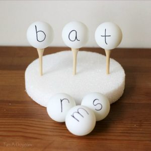How to teach reading this summer - word family ping pong balls