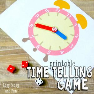 Learn to tell time dice game