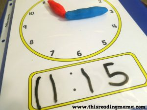 Learn to tell time - play dough mats