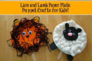 Making puppets - lion and lamb paper plates