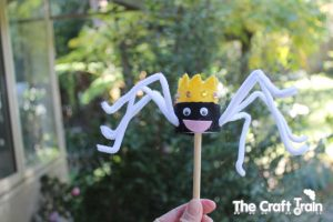 Making puppets - spider stick puppets