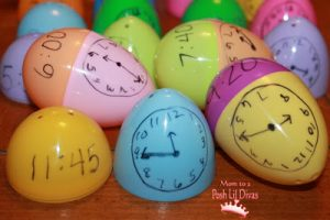 Teaching time to kids - egg matching game