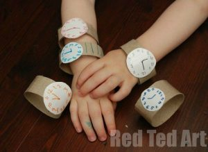 Teaching time to kids - homemade watches