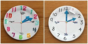 Teaching time to kids - paper plate clock
