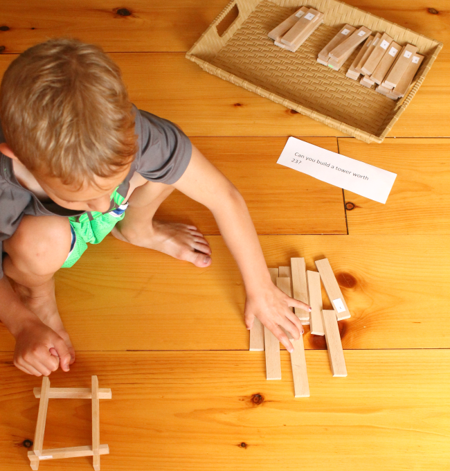 Teach kids about numbers, adding, and subtracting with this fun activity using blocks!