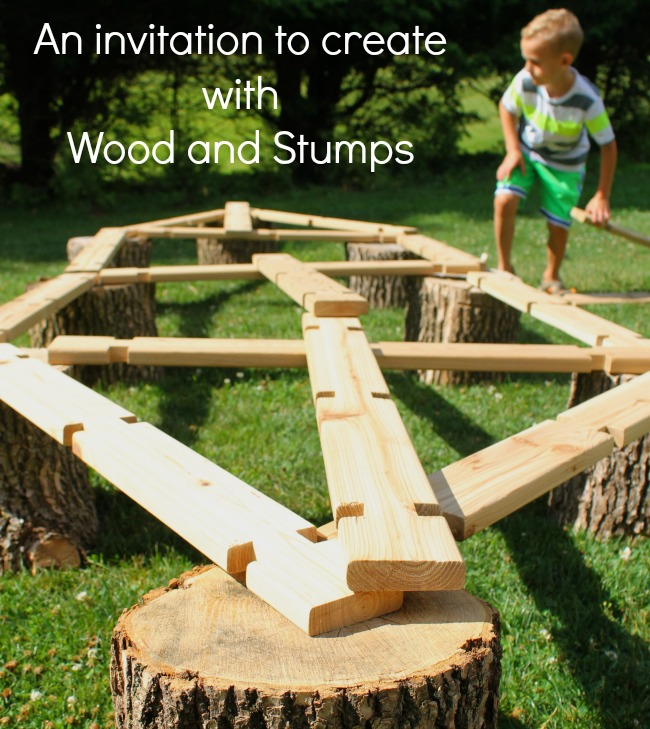 This is a great invitation to build using wood. Great heavy lifting and gross motor development too! Perfect STEM activity