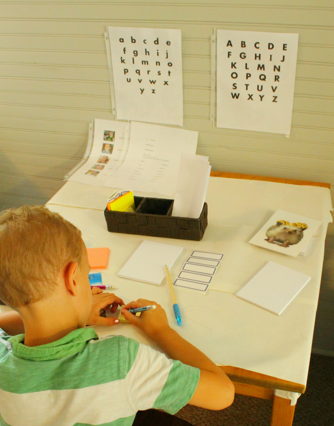 A writing table is a fun way to encourage kids to print and write!