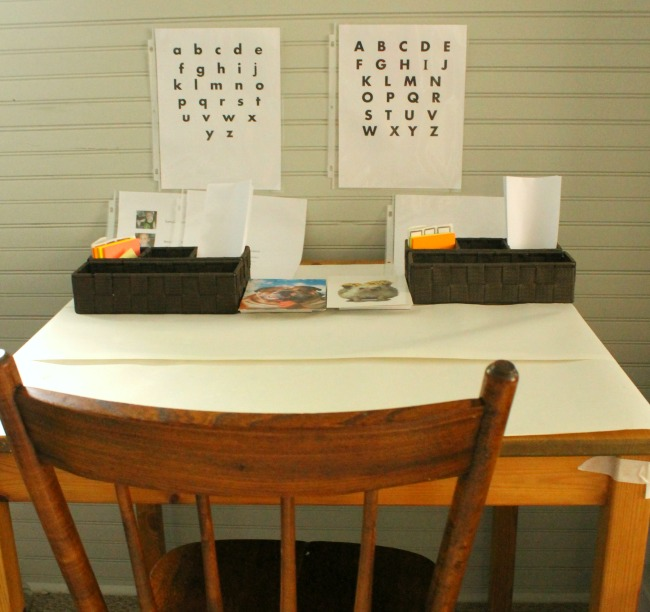 A great way to get kids to practice writing - make a writing center!