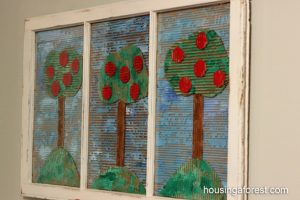 Apple theme - cardboard apple trees