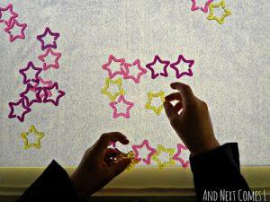 Constellations for kids - on the light table