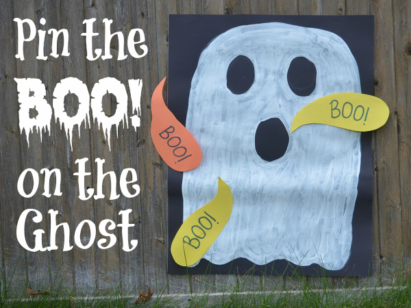 Halloween games for kids - pin the boo on the ghost