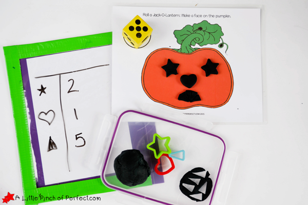 Halloween games for kids - play dough pumpkin dice game