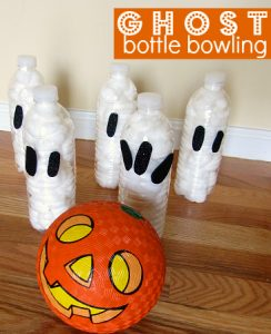 Halloween games for kids - pumpkin ghost bowling
