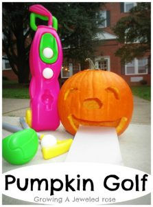 Halloween games for kids - pumpkin golf