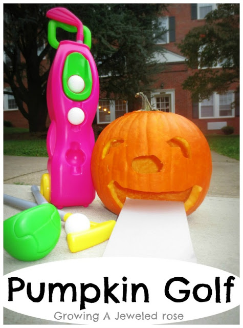 Halloween games for kids - pumpkin golf