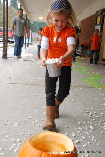 Halloween games for kids - pumpkin popcorn relay