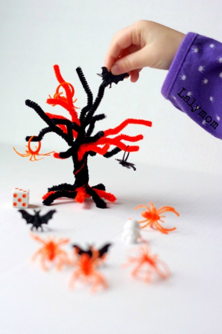 Halloween games for kids - topple the tree dice game