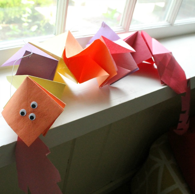 A paper folded dragon! Such a great paper craft for kids