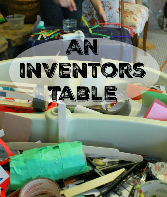 Turn the water table into a huge inventors bin with recycled materials and everyday household items! #howweelearn #quiettime #independentplay #preschoolactivities #preschoollearning