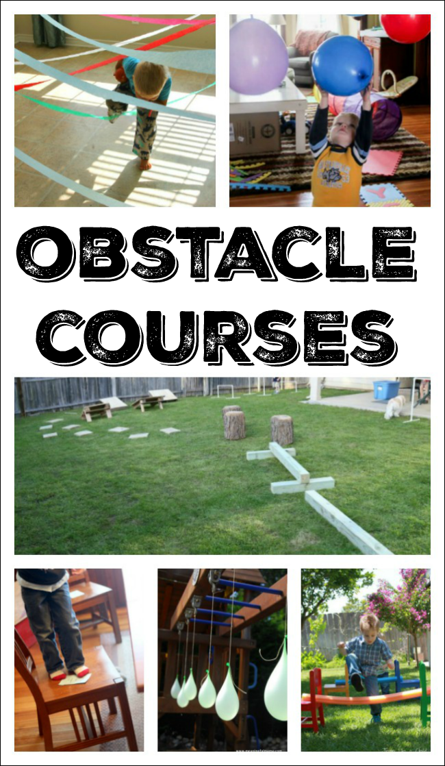 These easy obstacle course ideas are perfect for getting preschoolers moving indoors and out! #obstaclecourse #preschooleractivity #winterfun #healthyliving