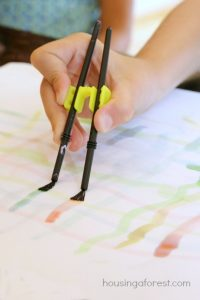 fine-motor-activities-double-brush-art