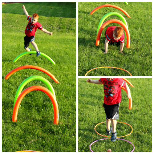 This obstacle course idea is great for learning the alphabet!