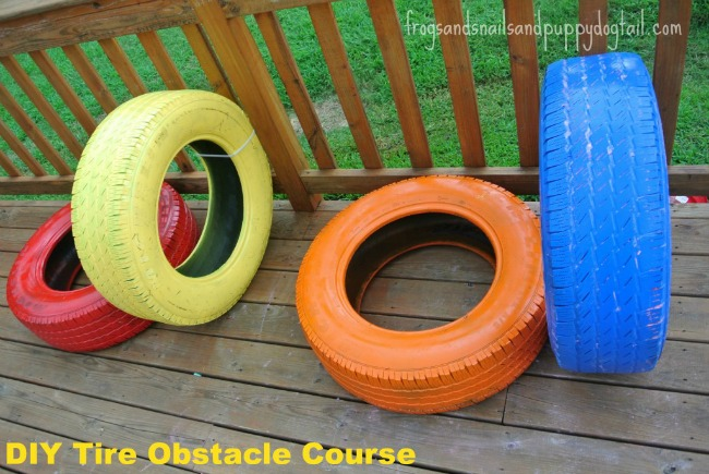 A colourful tires obstacle course for toddlers and preschoolers!