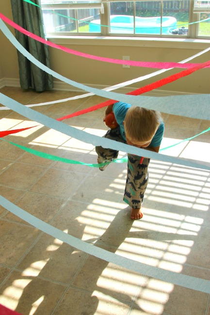 A spy course obstacle course idea for preschoolers!