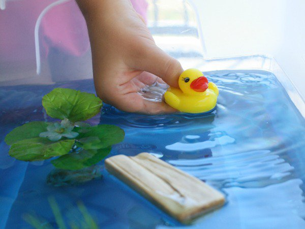 Sensory Activities for Toddlers - create a duck habitat sensory table with wood chips, pebbles and plants for great sensory play