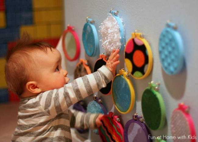 Sensory Activities for Toddlers - Use texture items from around the house to make a sensory board for baby and toddler