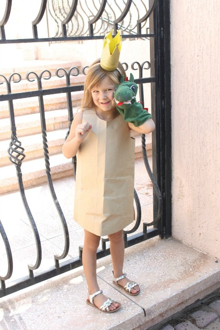 There is no easier costume than a paper bag mask. Grab a paper bag and cut out holes for your eyes then grab a few markers and let your imagination go wild. Check out this list of DIY Paper Bag Costume Ideas for inspiration. They are so simple for kids to make and to wear.