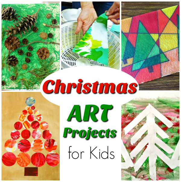 Awesome Christmas Art Ideas for Kids! The Art Projects are great for the holiday season, from preschoolers to big kids! #Christmas #Crafts #Art #Preschool #winter