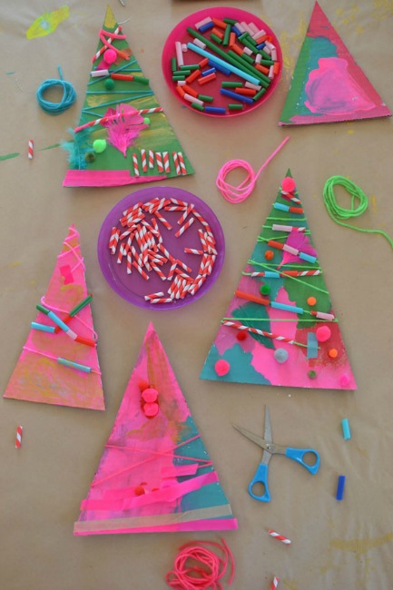 christmas-art-for-kids-cardboard-trees