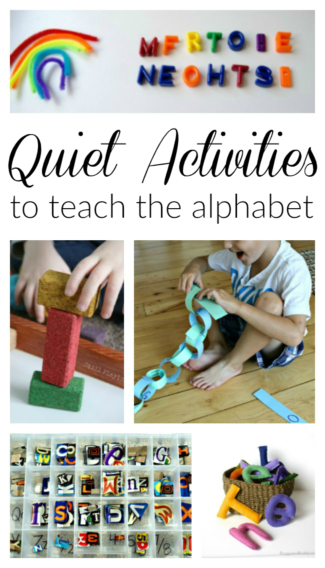 These quiet time activities teach the alphabet to preschoolers! Fabulous learning ideas in quiet time boxes! #quiettime #preschoolactivities #quietboxes #quietbins #resttime #preschool