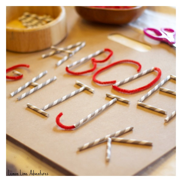 using straws and pipecleaners to make alphabet letters for preschoolers