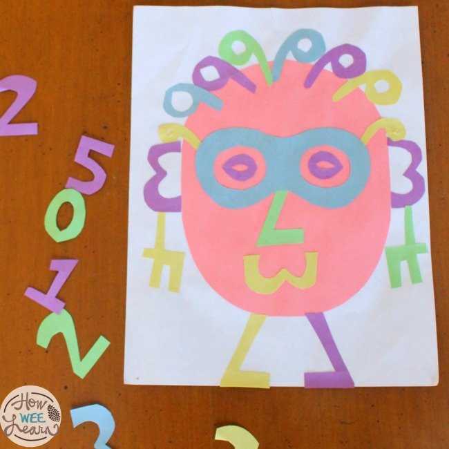 Quiet Time Ideas for Kids - Cut-out paper numbers or use number stickers to build pictures, like this Nancy Number face. Such a fun and easy way to increase number awareness. #howweelearn #quiettime #independentplay #preschoolactivities #preschoollearning