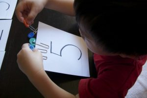 teaching numbers - paper clips