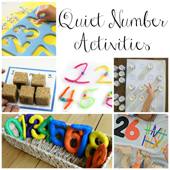 These quiet time box activities for preschoolers teach numbers and counting!  #quiettime #quietboxes #preschooler #learningactivities #numbers #preschoolactivities