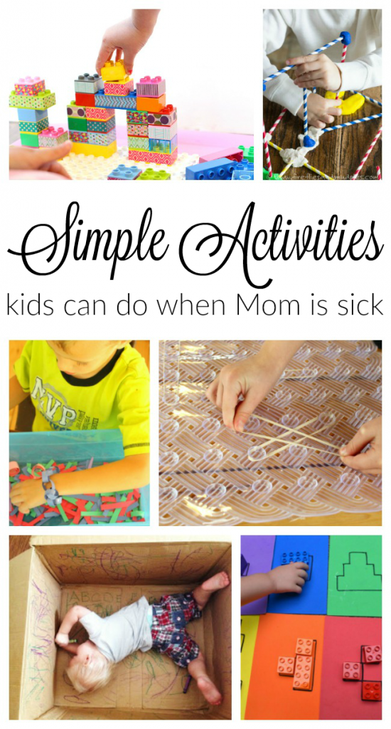 20 simple activities for kids to do when mom is sick #howweelearn #quiettime #independentplay #preschoolactivities #preschoollearning