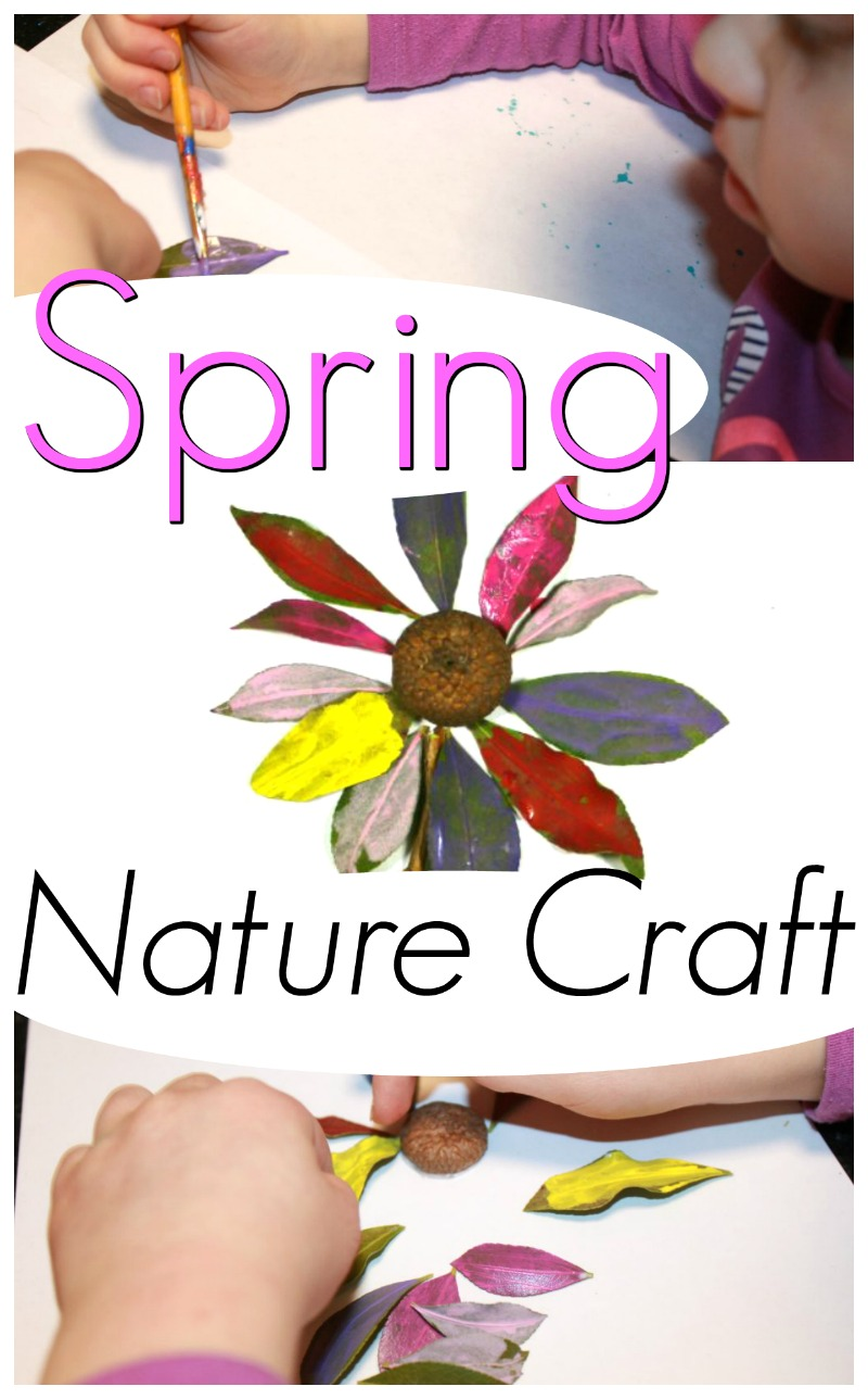 A beautiful spring nature craft for preschoolers! This Spring art project is great for kids to do all on their own. #howweelearn #springcraft #craftsforkids #kidscrafts #naturecrafts #preschoolcrafts