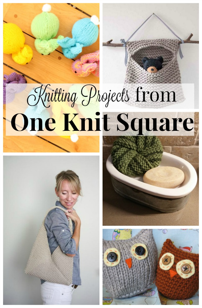 These are perfect beginner knitting projects. All of these easy knit projects are made from only one knit square! If you can knit a square you can make all of these!