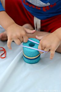 Amazing fine motor activities to build dexterity - Pool noodles and rubber bands