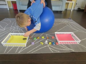 Crossing the midline - exercise ball