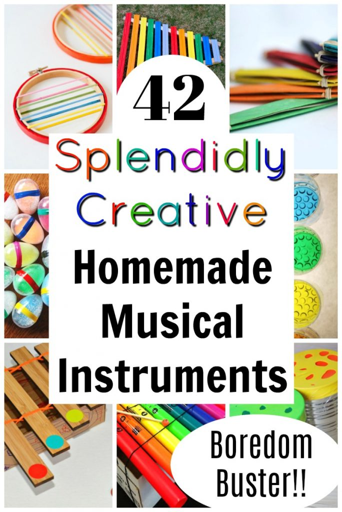 These are awesome, easy, and fun homemade musical instruments for kids to make! #homemademusicalinstruments #musicalinstruments #kidsactivities #kidscrafts #craftsforkids #familyfun #funforkids