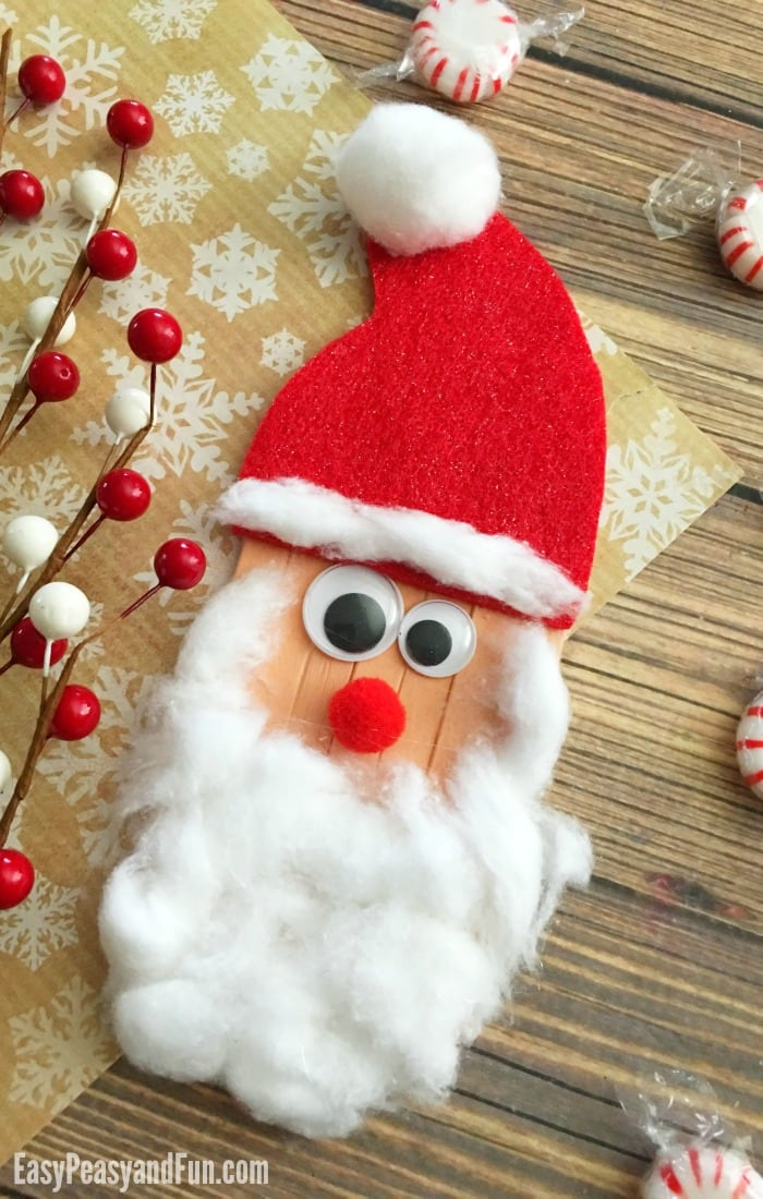 Such a cute Christmas craft for preschoolers - Santa made out of popsicle sticks!