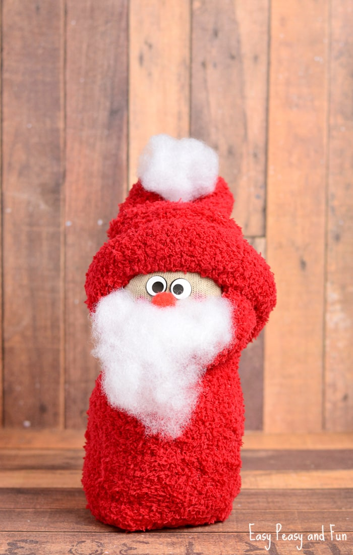 A no sewing santa craft made from a sock!