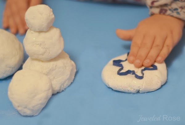 snowflake art for kids! This is icy cold snow dough - perfect for winter crafts